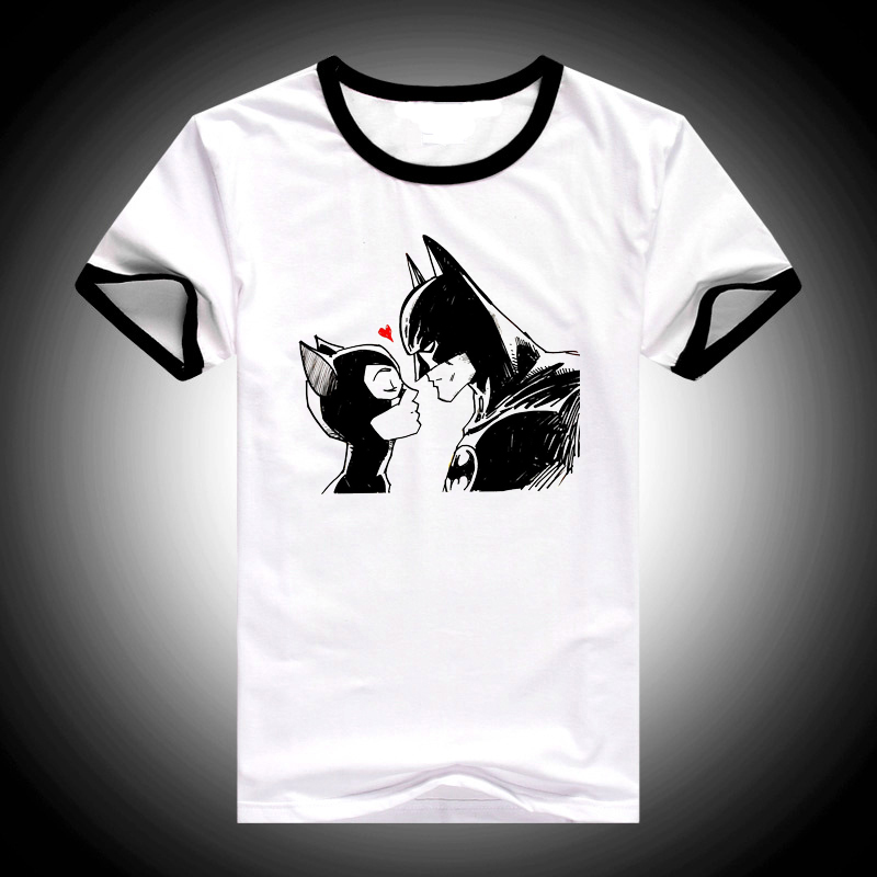 2019 Summer Tops Cartoon Batman and Catwoman   T     Shirt   Women harajuku kawaii   t  -  shirt   Female white funny   t  -  shirt   femme streetwear