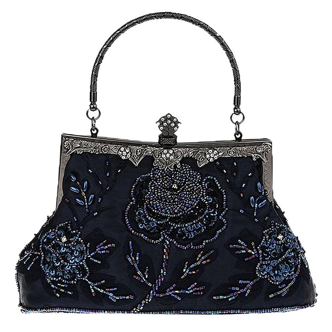 5 pcs of Women Antique Beaded Rose Evening Purse Clutch Handbag,Dark Blue antique rose
