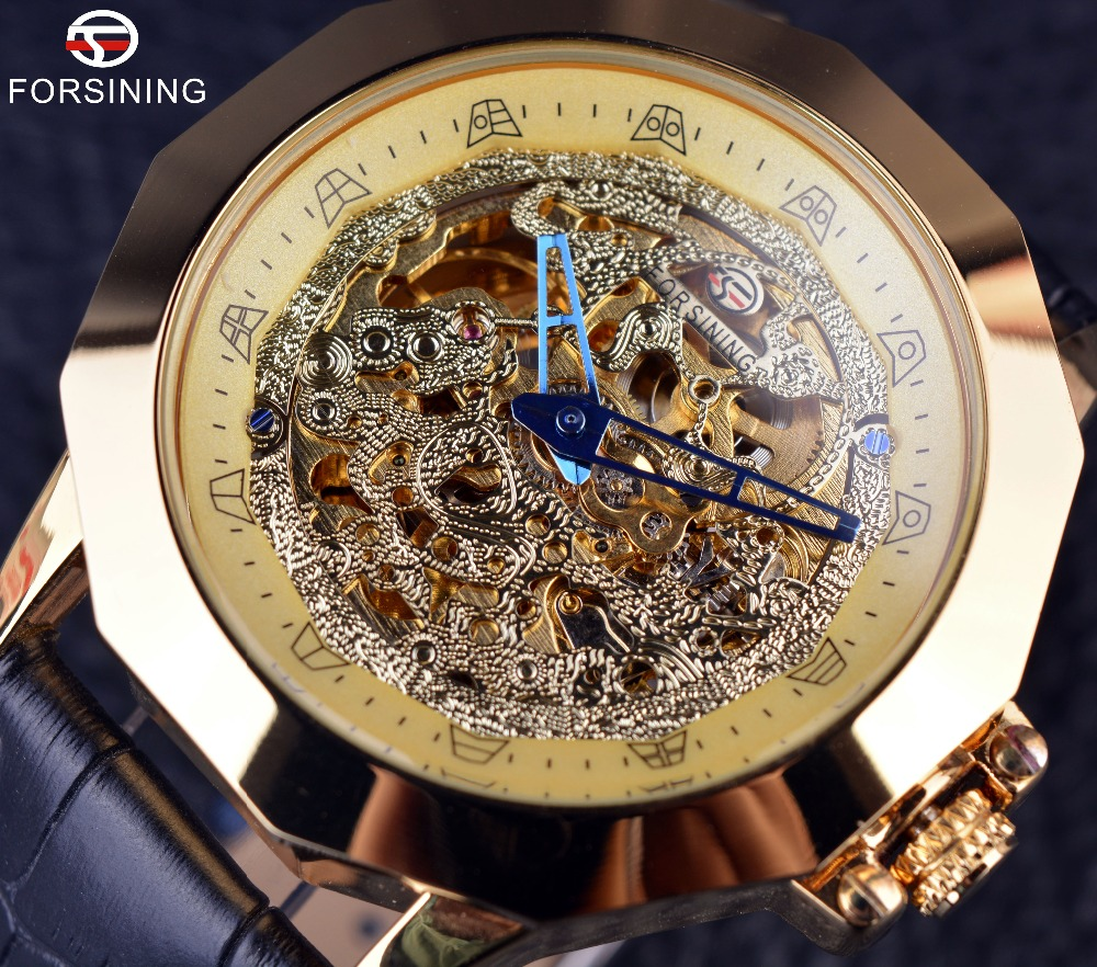 Forsining Blue Needle Dragon Irregular Case Design Clock Gold Watch Men Luxury Brand Automatic Watch Genuine Leather Strap Watch