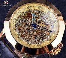 Forsining Azul Dragón Aguja Irregular Diseño de la Caja de Reloj Reloj de Los Hombres de la Marca de Lujo de Oro Automático Reloj de Cuero Genuino Correa de Reloj
