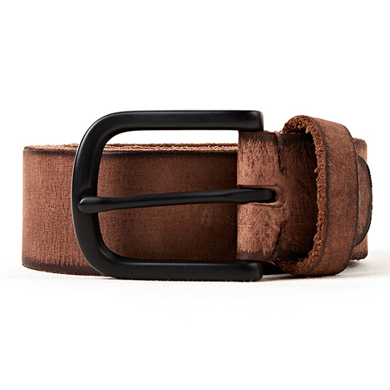 Image 3 - luxury genuine leather belt men  vintage pin buckle men's belt handmade jeans strap  cowhide  young army green color-in Men's Belts from Apparel Accessories on AliExpress