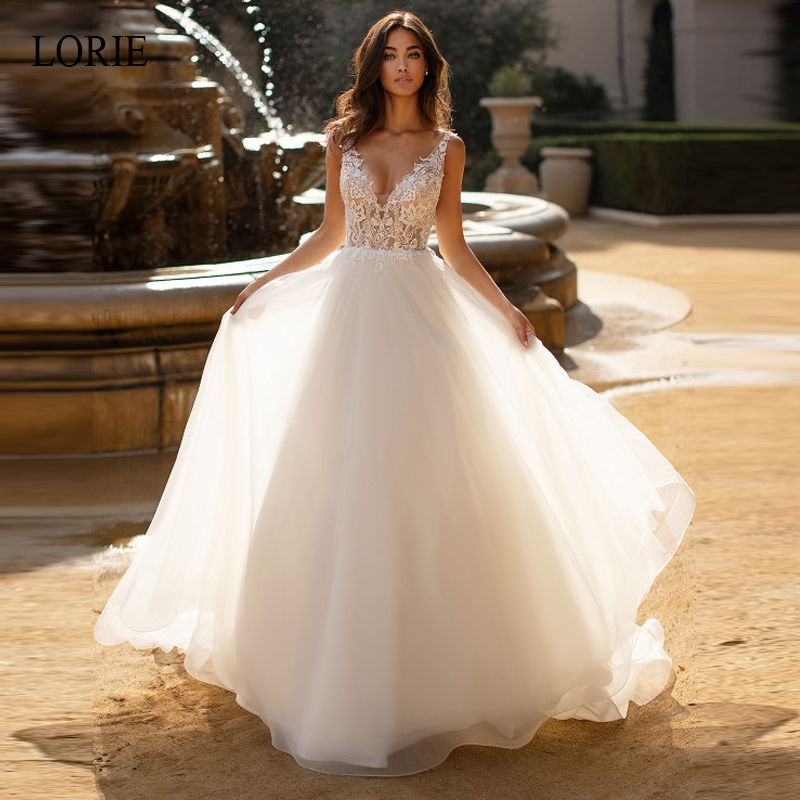 LORIE A Line Wedding Dresses Summer Lace Appliques with Tulle Bridal Gown V Neck Sleeveless Backless vestido de noiva Customize in Wedding Dresses from Weddings Events