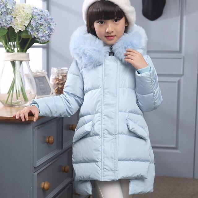 2016 новых девушек пуховик для девочки пальто большой меховой воротник капюшоном длинные дети верхняя одежда куртка пальто шинель бесплатная доставка