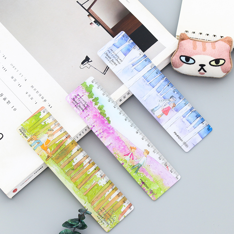 15cm Cute Plastic Straight Ruler Precision Printing Shape Learn Drafting Measuring Tool Kid Student School Office Stationery