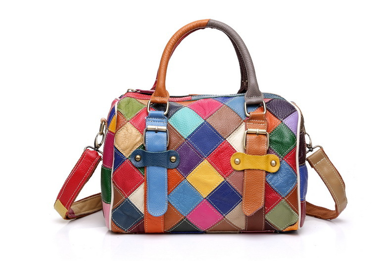 Women Color Patchwork handbags Cowhide Boston bag shoulder ladies hand bag women Genuine leather shoulder bag woman bags women genuine leather handbags ladies personality new head layer cowhide shoulder messenger bags hand rub color female handbags