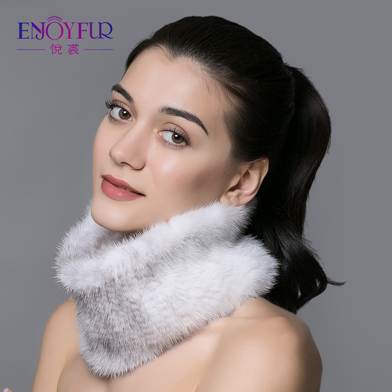 ENJOYFUR women fur scarf for winter real mink fur ring knitted warm scarves 2018 new fashion fur collar high quality fur scarf