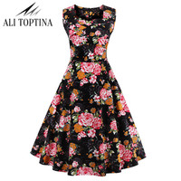 Sleeveless Vintage 50s 60s Hepburn Style Retro Printing Formal Birds Garden Tea Elegant Casual Party Cocktail