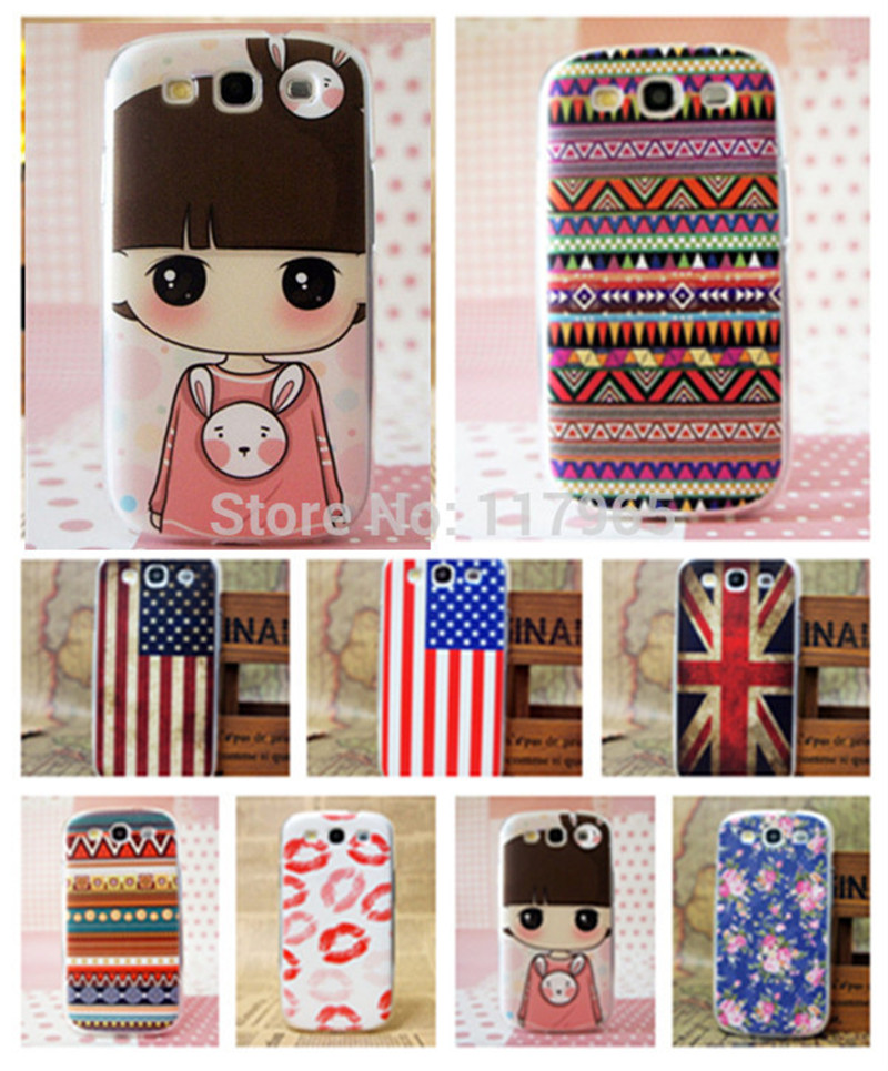 Multi-Style National Flag Pink Cover Girl Flower Red Clip Hard Case for Samsung Galaxy S3 III I9300 Fundas Shell Pouch EC239