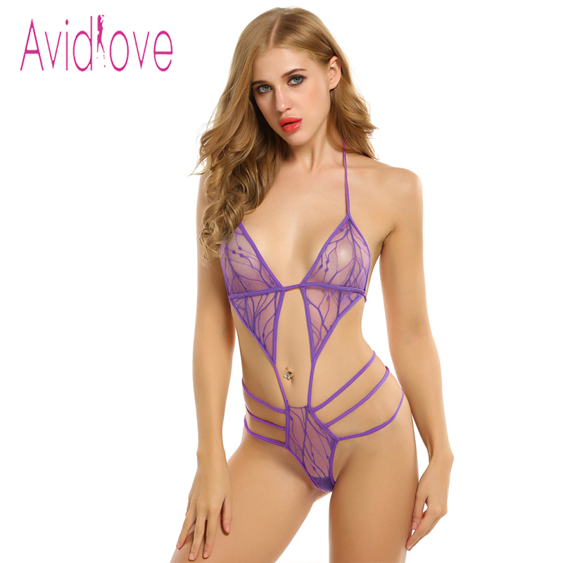 Avidlove Hot Bodysuit Women Sexy Lingerie Erotic Underwear Sexy Lace Up One Piece Bodysuit Lingerie Plus Size Porn Sexy Costumes-In Bra  Brief -2348