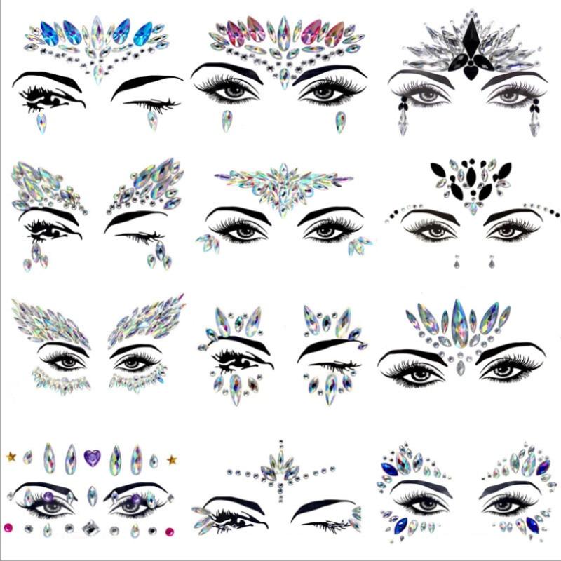 Rhinestone Glitter Sticker Temporary Tattoo Facial Jewels Gems Festival Party Makeup Body Flash Crystal Jewelry Temporary Tattoo