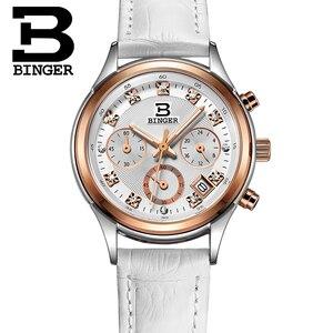 Image 4 - Binger zegarki damskie szwajcaria luksusowe zegar kwarcowy wodoodporny kobiety prawdziwej skóry z chronografem na pasku zegarki na rękę BG6019 W6
