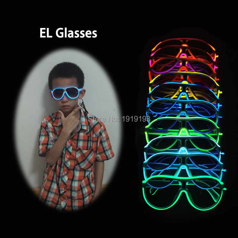 Attractive Neon Led Strip Child Favors Sparkling Glasses EL Wire Cold Light Luminous Eyewear for New Years Day Halloween Easter attractive valentines day glowing el wire rope gorgeous fluorescent mask neon led strip twin colors colorful mask as event gifts