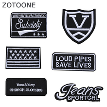 ZOTOONE Black White Style Embroidered Animals Patches for Clothes Diy Clothing Stickers Applications on Garment Badges E