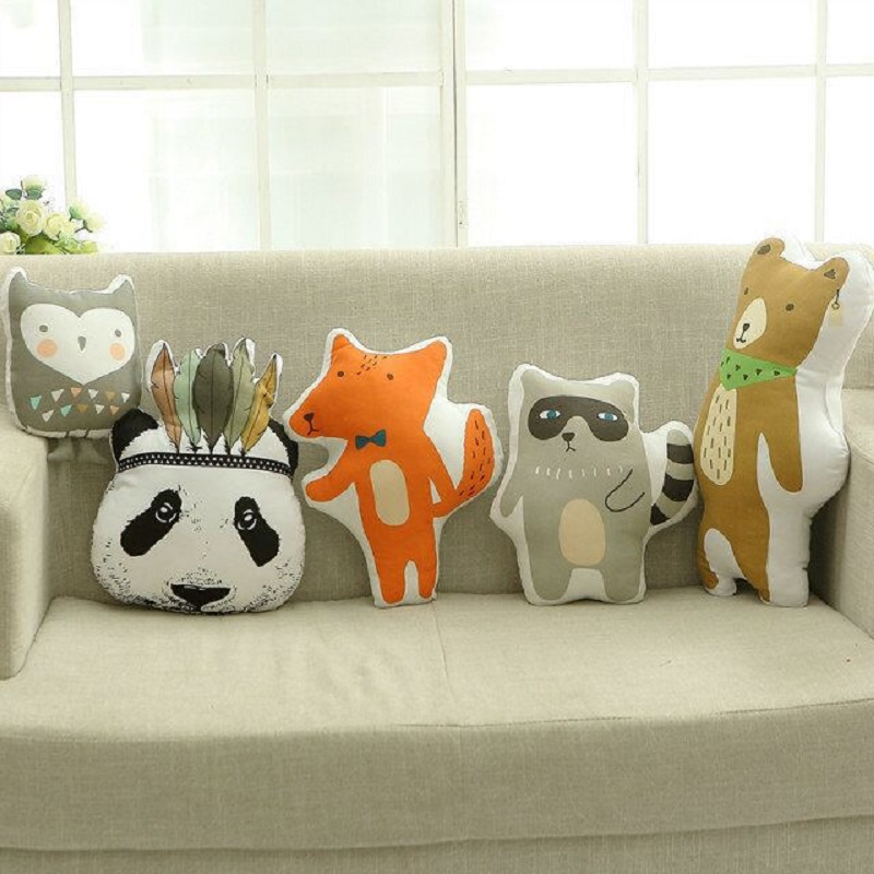Lovely Cartoon Animals Panda Bear Raccoon Fox Owl Hunter Soldier Cushion Pillow Baby Dolls Stuffed Toys For Kids Decoration Room lovely cartoon cloud smile face knitted crocheted cushion pillow stuffed dolls baby bed room decoration toys nordic style