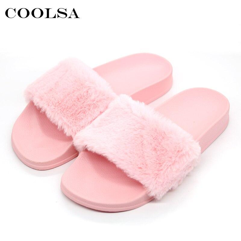 7b1639a24ffc6 Coolsa New Arrivals Autumn Plush Slippers Fluffy Fur Flock Women Slides  Designer Flat Casual Flip Flops