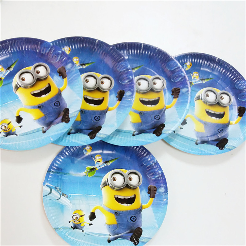 10pcs Lot 7inch Minions Theme Plates Party Supplies For Kids Birthday Decoration Festival