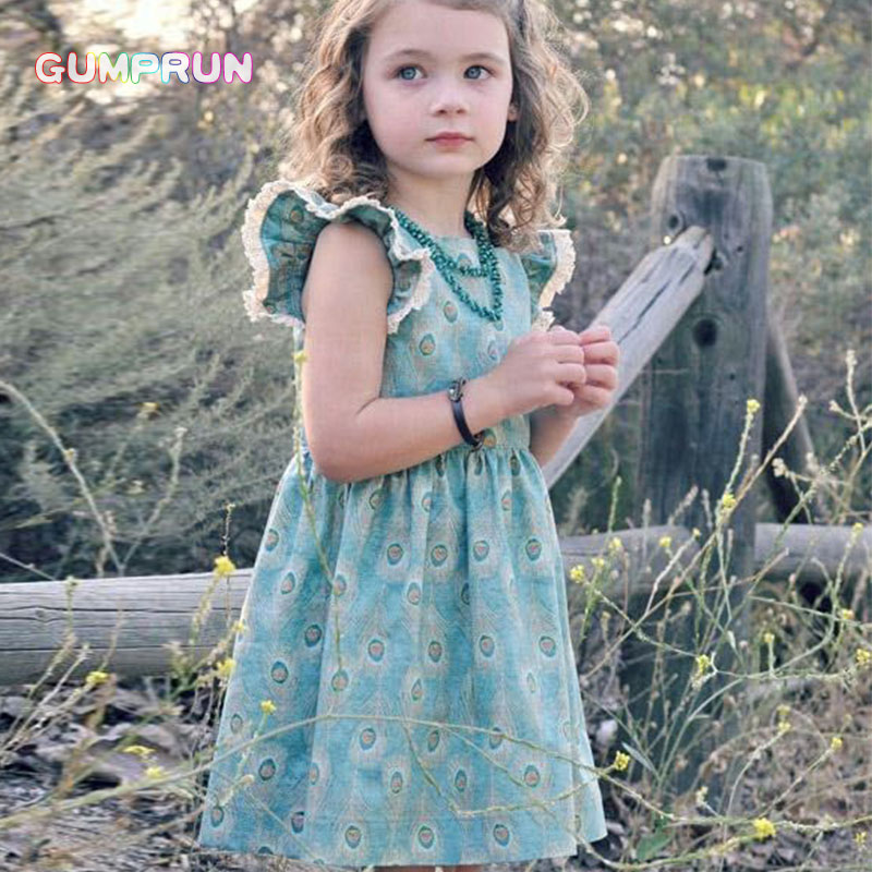 GUMPRUN children clothes casual Summer Beach Floral Print Party Dresses For Girls fashion Cute Baby Kids Girl dress Vintage rifle rifle ri369ewjgh52