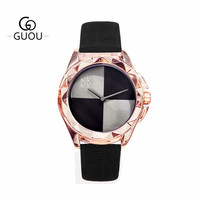 GUOU Elegant Women Quartz Watch Black Dial Leather Strap Rose Gold Case Female Ladies Waterproof Wristwatches Clocks Mother Gift
