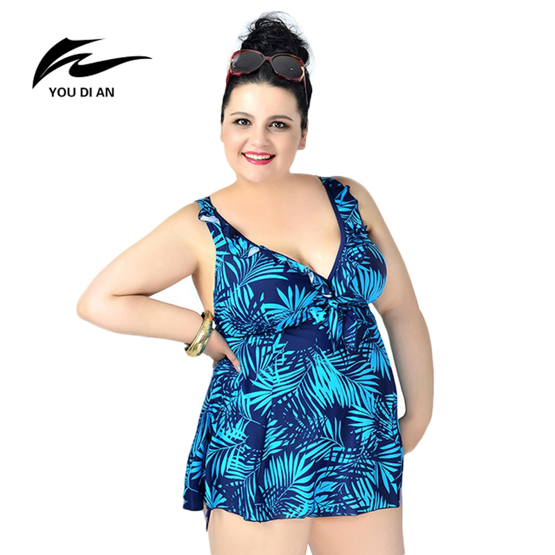 YOUDIAN 2017 New Arrival Leaf Printed Swimwear One Piece Swimsuit For Women Summer Dress Plus Size Bathing Suit Sexy Beachwear women cover up swimwear beach dress skirt one piece swimsuit printed tunic bathing suit 2017 new arrival large size