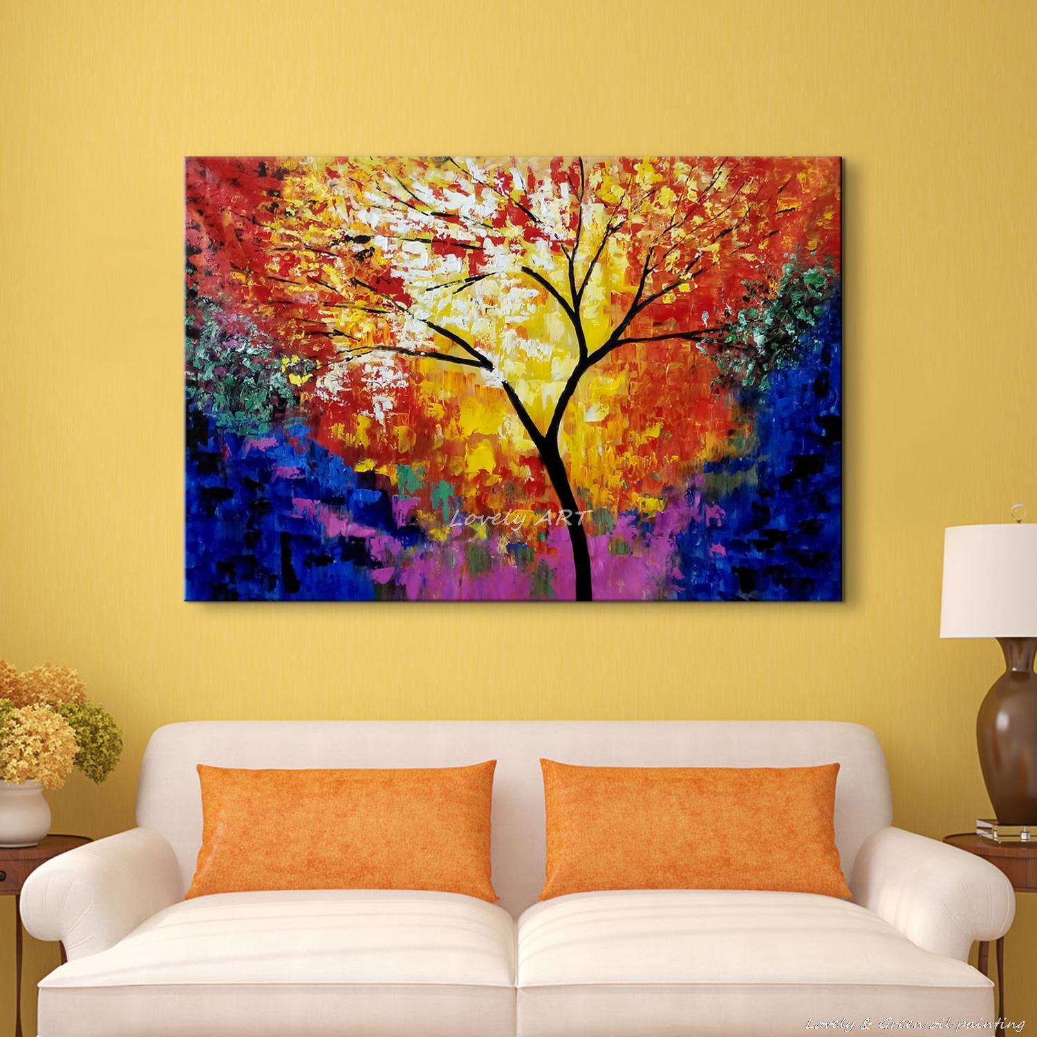 Unframed 100% Handpainted Modern Colorful Tree Palette Knife Oil ...
