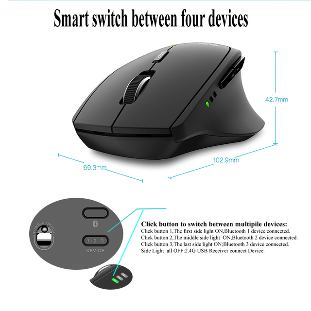 Rapoo MT550/MT750S Multi-mode Wireless Mouse Bluetooth 3.0/4.0 And 2.4G Switch For Four Devices Connection 5