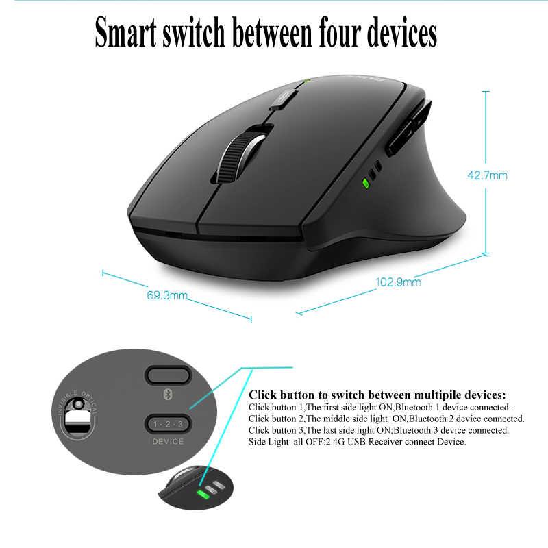 رابو MT550/MT750S ماوس لاسلكي متعدد الوضع بلوتوث 3.0/4.0 و 2.4G التبديل لأربعة أجهزة اتصال ماوس ألعاب الكمبيوتر