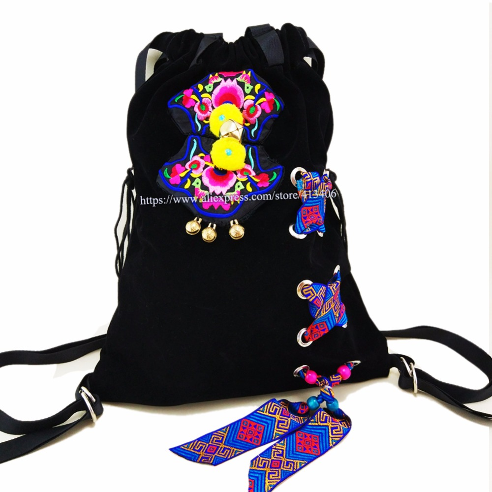 2 usage Free shipping Vintage Hmong Tribal Ethnic Thai Indian Boho totes shopping bag rucksack handmade embroidery Tapestry 1020 in Shoulder Bags from Luggage Bags