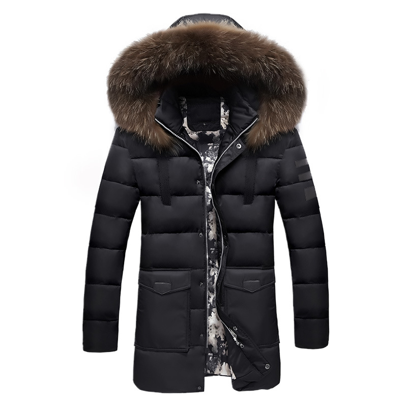 Winter Jackets Men 2019 Fur Collar Oversized Long   Parkas   Men's Overcoats Thick Puffy Side Zipper Casual Hooded Jackets Coats