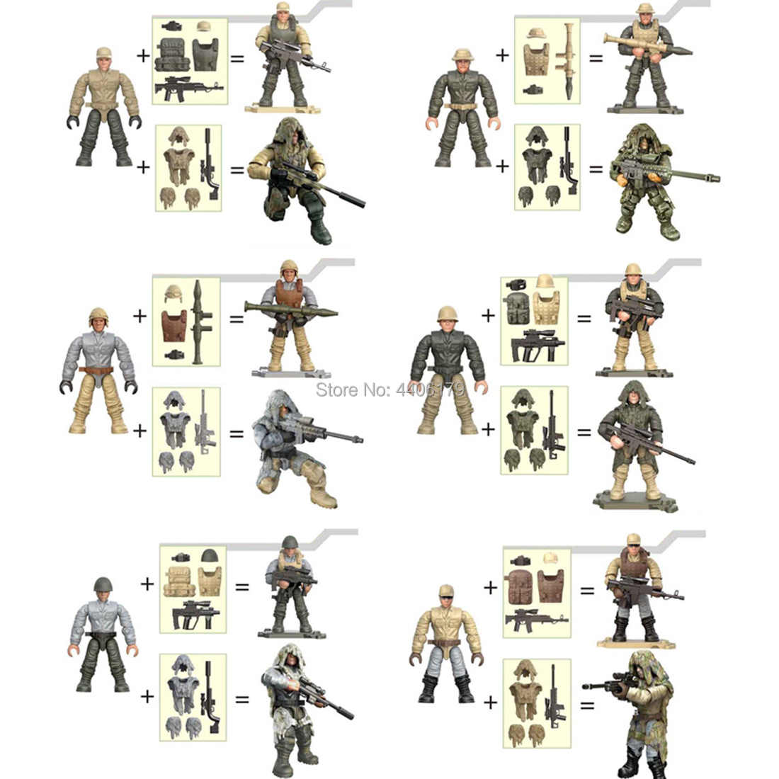 hot LegoINGlys military WW2 Army Jungle Assault war Building Blocks mini weapon guns soldier figures model bricks toys for gift