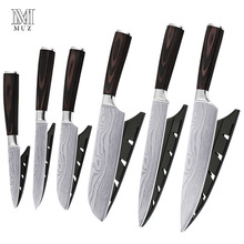Kitchen Knives Stainless Steel Knife Set New Arrival2019 Color Wood Handle Fruit Vegetable Meat Cooking Tool Accessories