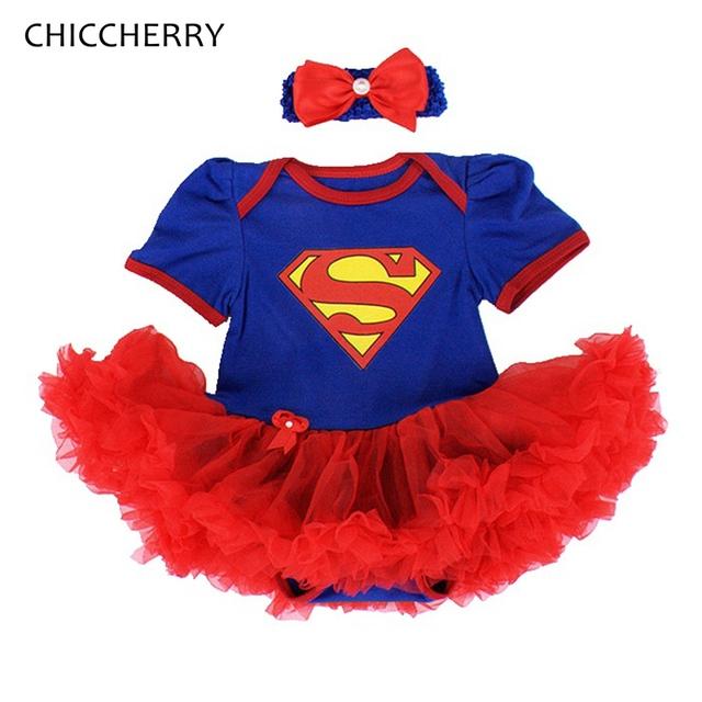 Azul superman traje de los bebés mameluco del cordón dress + headband 2 unids conjuntos tutú del partido del bebé-ropa de recién nacido niño ropa de la muchacha