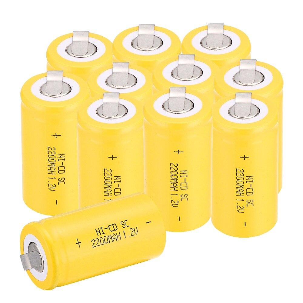 High quality !13 pcs 4.25CM*2.2CM Sub C SC battery 1.2V 2200 mAh Ni-Cd NiCd Rechargeable Battery