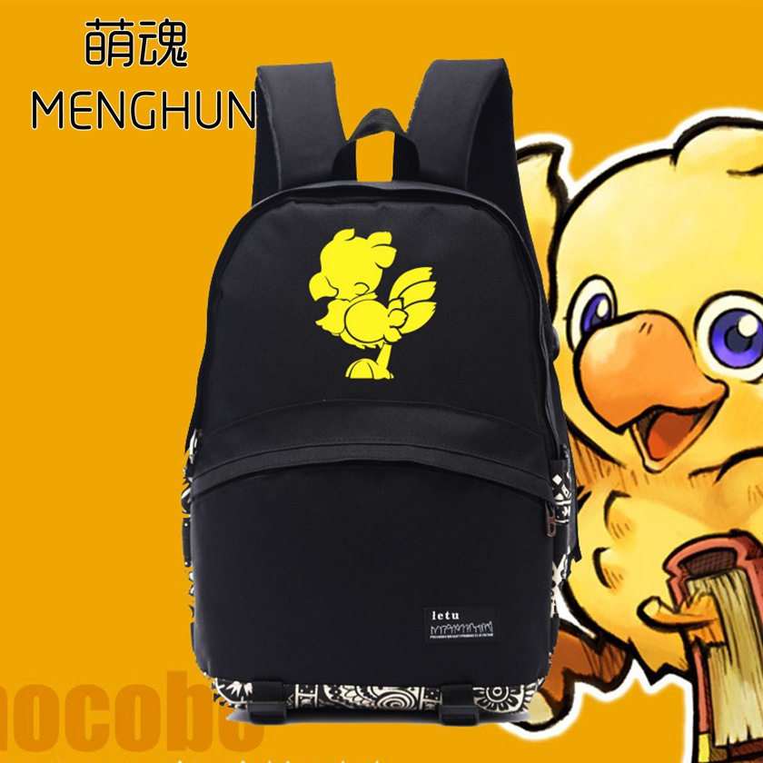 new designed FF chocobo printing lovely nylon black backpack for game fans FF game lovers Chocobo backpack NB070 image
