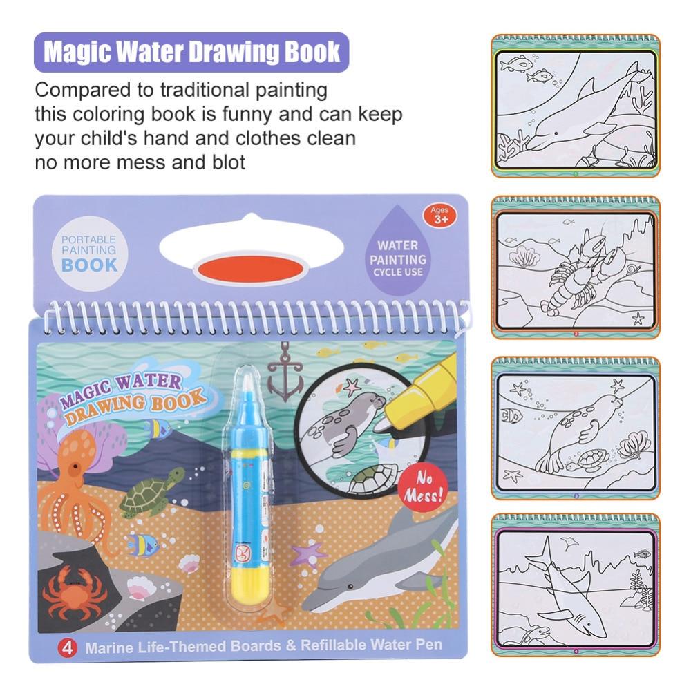 Children Water Painting Book 4 Pcs Magic Paint With Corporation Br120af Single Pole Arc Fault Circuit Breaker 20amp Coloring Doodle For Kids