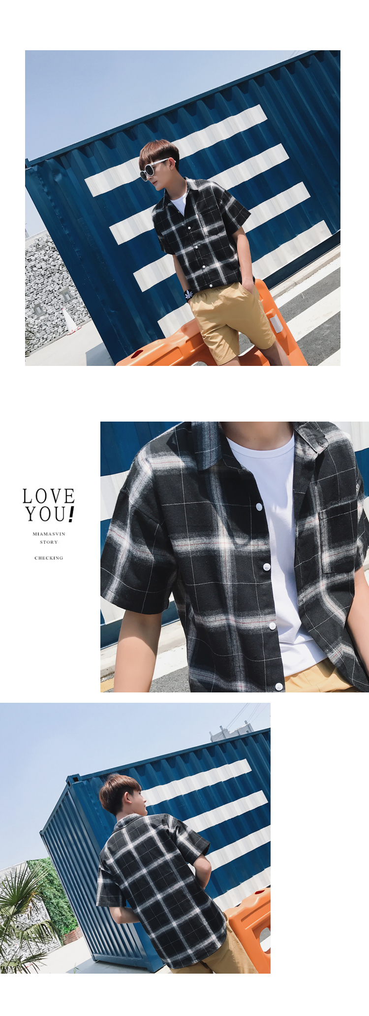 LEGIBLE Men Plaid Short Shirts 2019 Mens Harajuku Streetwear Casual Loose Hip Hop Half Sleeve Shirt Male Fashion 11