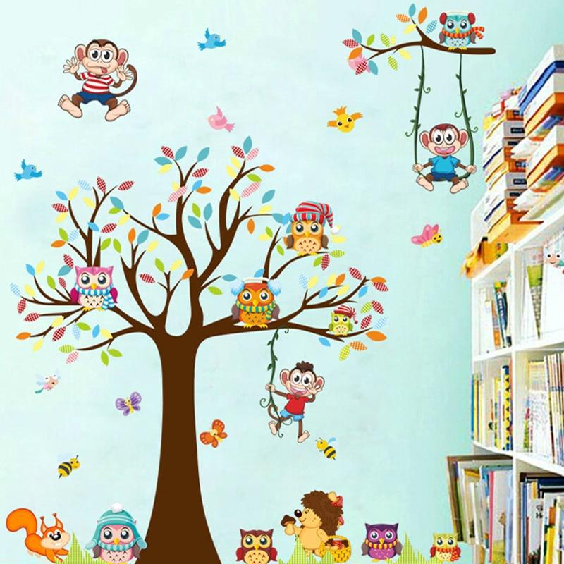 DIY Ağacları Meymun Bayquş Şirin Heyvan Divar Stikeri Uşaqlar - Ev dekoru - Fotoqrafiya 4