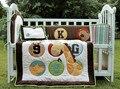 4 Pcs algodão Unisex bebê cama definir 3D urso bordado girafa macaco Quilt Bumper almofada Pillow Unisex berço cama conjunto
