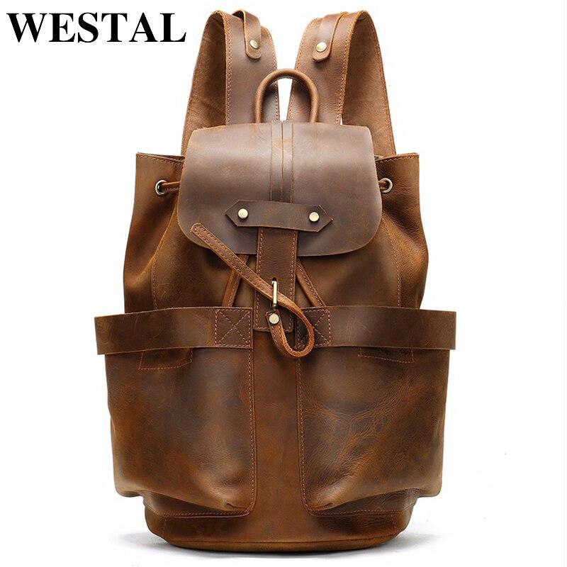 WESTAL sac à dos en cuir de cheval fou pour homme sac d'école multi-fonction sac à dos de voyage ordinateur portable rabat poche sac à dos 2946