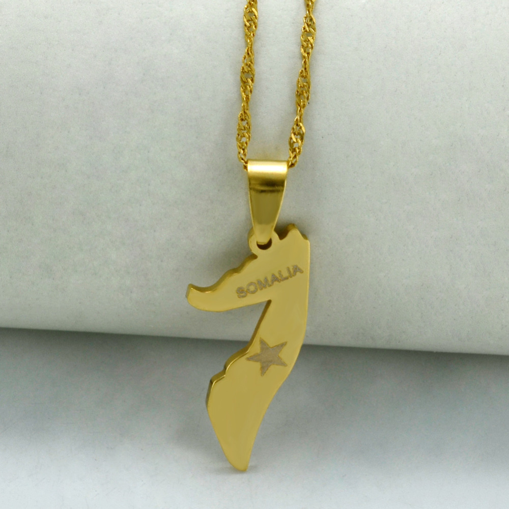 Somalia Map Thin Necklace Gold Color Jewelry Pendant Country Maps