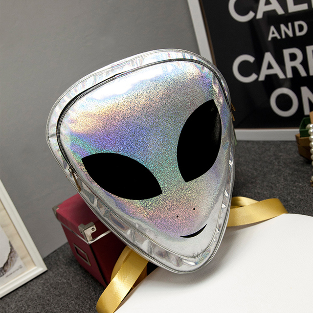 Colorful Laser 3D Aliens Backpack Silver/pink/green Reflection Harajuku  Style School Bag for Teenagers Transparent Backpack