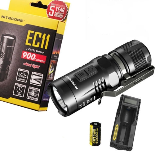 1 Set Nitecore EC11 Mini portable Led Flashlight 900 Lumens XM-L2 (U2) LED White and Red with 18350 Battery with UM10 charger nitecore ec11 cree xm l2 u2 900 lumens white and red led flashlight w 18350 rechargeable battery tactical flashlight for camping