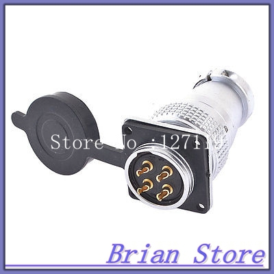 AC 400V 25A 4 Pin Electric Deck Aviation Connector Adapter Plug Y28-4  цены