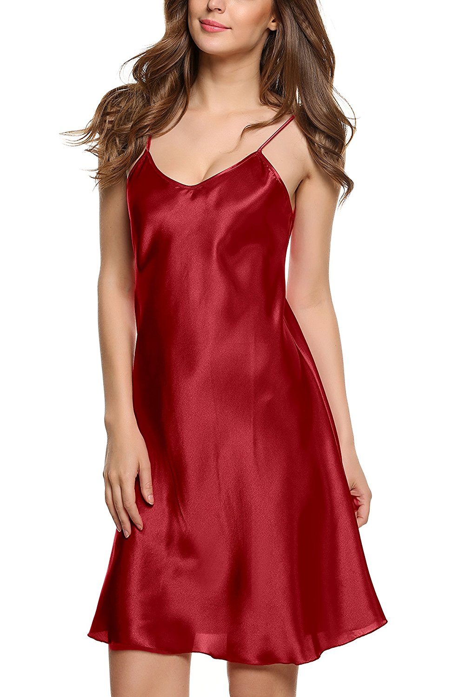 Women Sexy-Lingerie Sleepwear Satin Silk Babydoll Lace Robes Sleep Dress Women Solid Spaghetti Strap Nightgowns