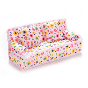 Image 2 - 1Set Cute Miniature Doll House Furniture Flower Cloth Sofa With 2 Cushions For Doll Kids Play House Toys