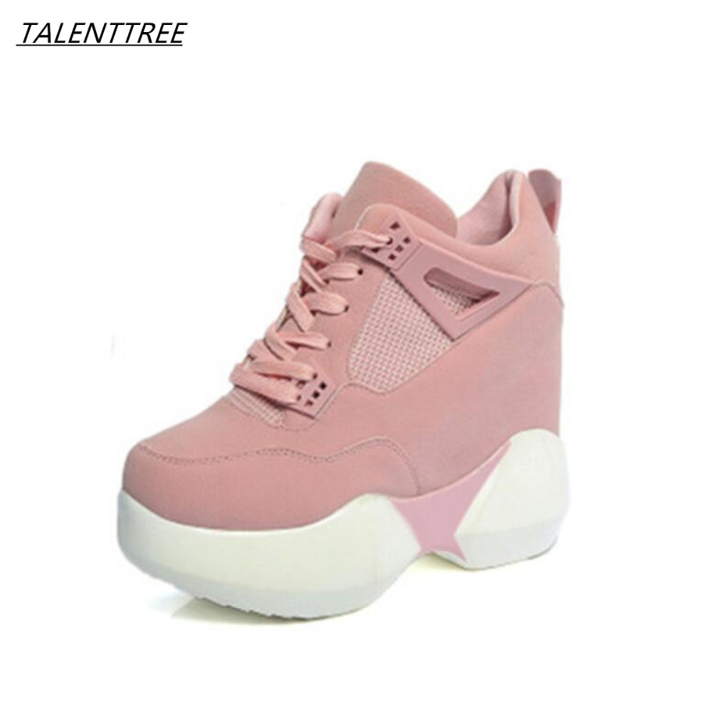 Breather Women 11 cm With platform Shoes 2018 Wedge Boots Platforms Shoes Woman Hidden Heels Casual Ladies Shoes zapatos mujer 2018 wedge high heels thick soled high top ladies casual shoes women platform canvas shoes hidden wedge heel boots zapatos mujer