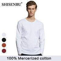 brand long sleeve t shirt men O neck men's Casual white t shirt 100% Mercerized cotton Basic Tops soild color Tshirt For Male