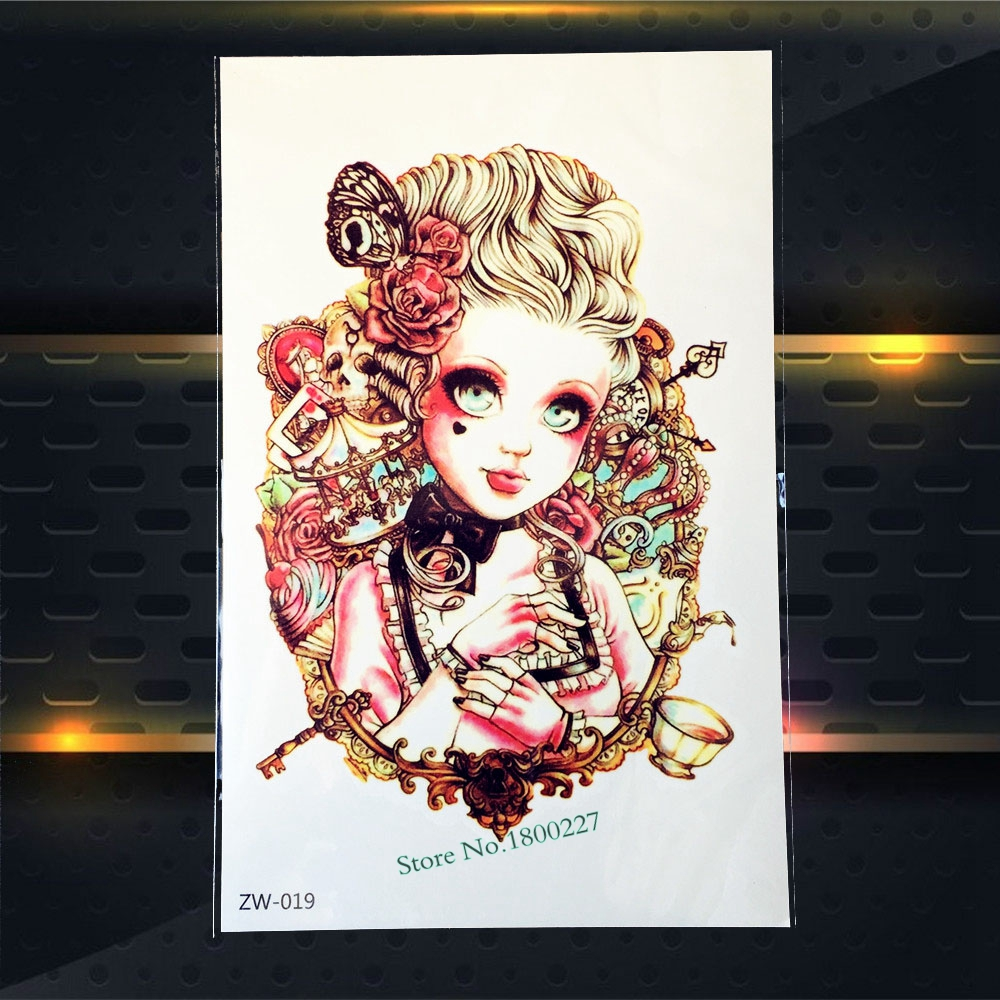 1PC Dazzling Flash Tattoo Sleeve Shiny Jewelry Princess Doll Design Body Art Decals Waterproof Temporary Tattoo Stickers PZW-019