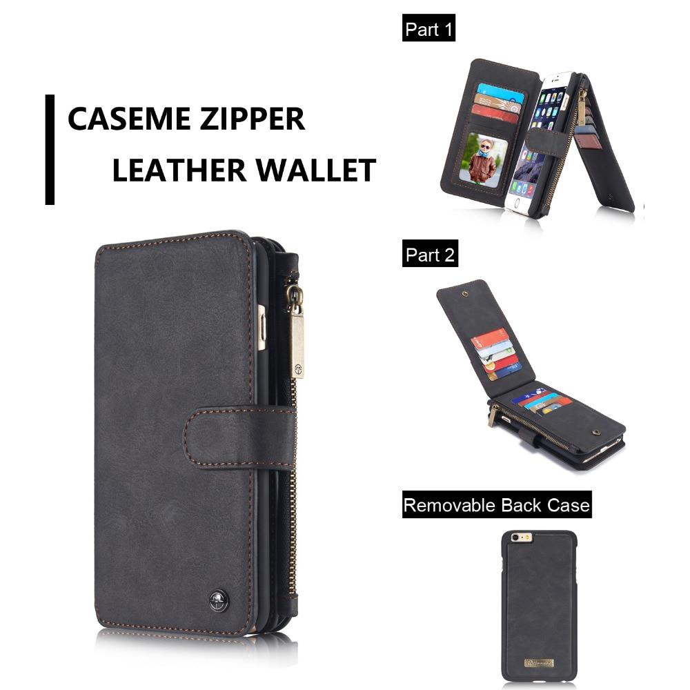 imágenes para CaseMe Multi-funcional 14 Tarjetas Holder 6 S Plus Caja de la Carpeta para iPhone 6 Plus, Retro 6G Caja de la Carpeta Para el iphone 6 S de Cuero cubierta