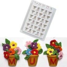 Alphabet Pot Silicone Molds Flower Fondant Cake Mold Confeitaria Decorating Tools Cupcake