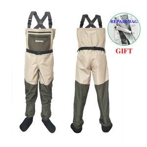 Image 1 - Fly wodery wędkarskie odzież przenośne kombinezony w klatce piersiowej wodoodporne ubrania spodnie brodzące Stocking Foot dobre jak Daiwa na buty rybne